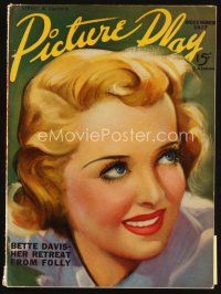 6d068 PICTURE PLAY magazine December 1937 art of Bette Davis by Dan Osher, her retreat from folly!