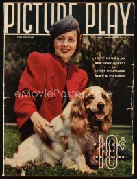6d071 PICTURE PLAY magazine October 1938 portrait of Olivia De Havilland & her dog by Bob Wallace!