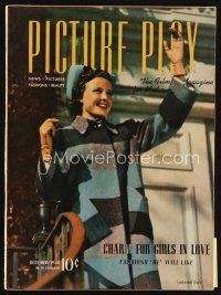 6d074 PICTURE PLAY magazine October 1940 portrait of pretty Laraine Day by Clarence Sinclair Bull!