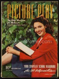 6d073 PICTURE PLAY magazine September 1940 sexy Linda Darnell in red corduroy fall outfit!