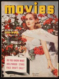 6h130 MODERN MOVIES magazine December 1940 portrait of beautiful Carole Lombard with flowers!