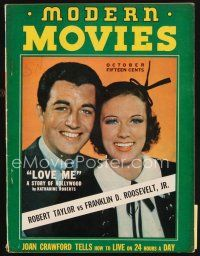 6h123 MODERN MOVIES magazine October 1937 portrait of Robert Taylor smiling with pretty woman!