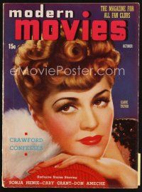 6h125 MODERN MOVIES magazine October 1938 art of sexy Claire Trevor, Joan Crawford Confesses!
