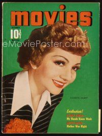 6h128 MODERN MOVIES magazine October 1940 portrait of pretty smiling Claudette Colbert!