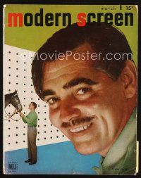 6h149 MODERN SCREEN magazine March 1947 super close up of smiling Clark Gable by Nikolas Muray!