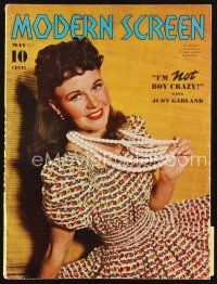 6h147 MODERN SCREEN magazine May 1940 portrait of pretty Ginger Rogers in colorful dress!