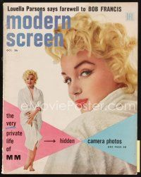 6h151 MODERN SCREEN magazine Oct 1955 the very private life of Marilyn Monroe, photo by Sam Shaw!