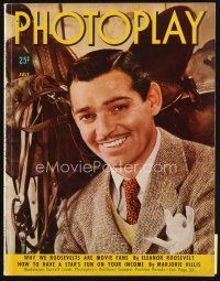 6h153 PHOTOPLAY magazine July 1938 great smiling portrait of Clark Gable by George Hurrell!