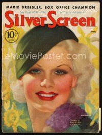 6h113 SILVER SCREEN magazine April 1933 colorful art of sexy Jean Harlow by John Rolston Clarke!