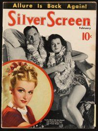 6h119 SILVER SCREEN magazine Feb 1939 art of Joan Bennett by Marland Stone + photo w/Fredric March