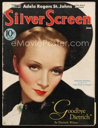 6h114 SILVER SCREEN magazine June 1933 art of Marlene Dietrich as Lily in Song of Songs by Clarke!
