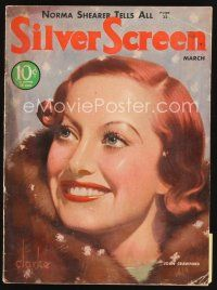 6h112 SILVER SCREEN magazine March 1933 art of pretty smiling Joan Crawford by John Rolston Clarke!