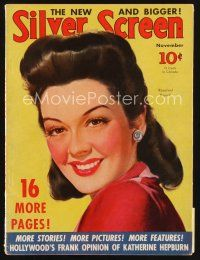 6h121 SILVER SCREEN magazine November 1940 art of smiling Rosalind Russell by Marland Stone!
