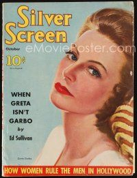 6h120 SILVER SCREEN magazine October 1939 art of beautiful Greta Garbo by Marland Stone!