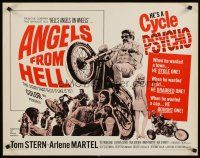 6j011 ANGELS FROM HELL 1/2sh '68 AIP, image of motorcycle-psycho biker, he's a cycle psycho!