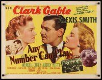 6j012 ANY NUMBER CAN PLAY style A 1/2sh '49 gambler Clark Gable loves Alexis Smith & Audrey Totter!
