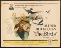 6j034 BIRDS 1/2sh '63 Alfred Hitchcock, art of Tippi Hedren attacked by birds!