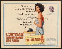 6j054 BUTTERFIELD 8 style A 1/2sh '60 cool art of sexy Elizabeth Taylor as prostitute!