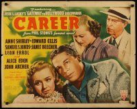 6j058 CAREER style B 1/2sh '39 Anne Shirley, Edward Ellis, from Phil Stong's famous novel!