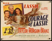 6j077 COURAGE OF LASSIE style B 1/2sh '46 pretty Elizabeth Taylor with most famous canine!