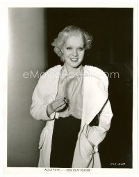 6r054 ALICE FAYE 8x10 still '34 close up smiling portrait holding rooster feather!