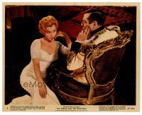 6r018 PRINCE & THE SHOWGIRL color 8x10 still #5 '57 Marilyn Monroe sits in front of Laurence Olivier