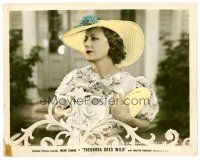 6r025 THEODORA GOES WILD color 8x10 still '36 close up of pretty Irene Dunne holding purse by gate!