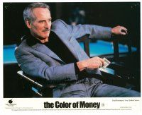 6r007 COLOR OF MONEY English FOH LC '86 c/u of Paul Newman sitting by pool table gambling!