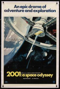 6s002 2001: A SPACE ODYSSEY linen 1sh '68 Stanley Kubrick, art of space wheel by Bob McCall!