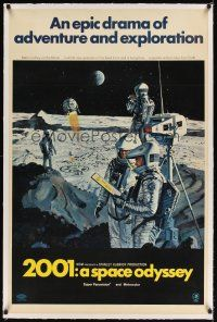 6s003 2001: A SPACE ODYSSEY linen 1sh '68 Stanley Kubrick, Bob McCall art of astronauts on the moon!