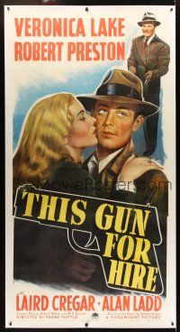 6s268 THIS GUN FOR HIRE linen 3sh '42 great image of Alan Ladd with gun & sexy Veronica Lake!