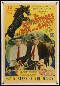 6s005 ADVENTURES OF REX & RINTY linen chapter 5 1sh '35 serial about a horse & German Shepherd dog!