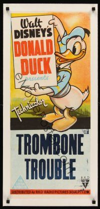 6s208 TROMBONE TROUBLE linen Aust daybill 44 Walt Disney great full-length image of Donald Duck