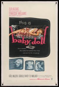 6s007 BABY DOLL linen 1sh '57 Elia Kazan, classic image of sexy troubled teen Carroll Baker!