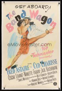 6s008 BAND WAGON linen 1sh '53 great artwork of Fred Astaire & sexy Cyd Charisse showing her legs!