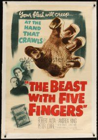 6s010 BEAST WITH FIVE FINGERS linen 1sh '47 Peter Lorre, your flesh will creep at the crawling hand!