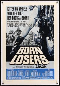 6s016 BORN LOSERS linen 1sh '67 Tom Laughlin directs and stars as Billy Jack, sexy motorcycle image!