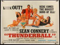 6s139 THUNDERBALL linen British quad '65 art of Sean Connery as secret agent James Bond 007!
