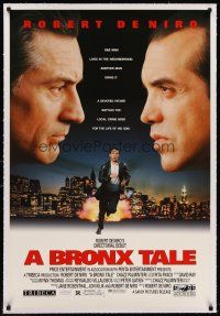 6s017 BRONX TALE linen 1sh '93 Robert De Niro faces off with Chazz Palminteri over NYC skyline!
