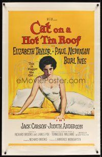 6s019 CAT ON A HOT TIN ROOF linen 1sh '58 classic artwork of Elizabeth Taylor as Maggie the Cat!