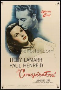 6s024 CONSPIRATORS linen 1sh '44 freedom fighter Paul Henreid nuzzles the hair of sexy Hedy Lamarr!