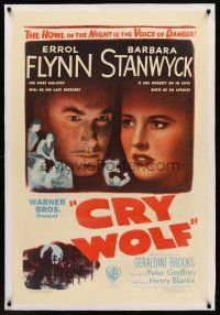6s027 CRY WOLF linen 1sh '47 cool close image of Errol Flynn & Barbara Stanwyck!