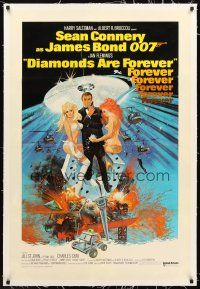 6s030 DIAMONDS ARE FOREVER linen in't 1sh art of Sean Connery as James Bond by Robert McGinnis!
