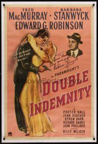 6s032 DOUBLE INDEMNITY linen signed 1sh '44 by Barbara Stanwyck, Fred MacMurray, Edward G. Robinson