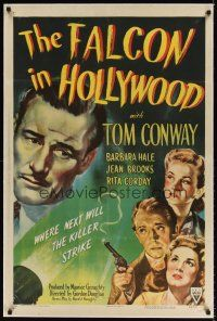 6s034 FALCON IN HOLLYWOOD linen 1sh '44 detective Tom Conway, where next will the killer strike!