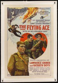6s036 FLYING ACE linen 1sh '26 cool all-black aviation, the greatest airplane thriller ever produced