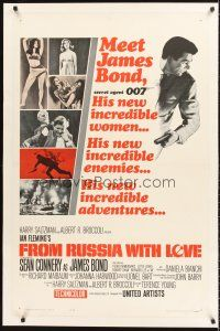 6s039 FROM RUSSIA WITH LOVE linen int'l 1sh '64 Sean Connery is Ian Fleming's James Bond 007!