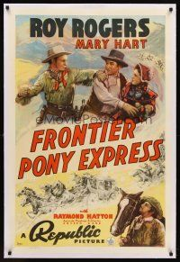 6s041 FRONTIER PONY EXPRESS linen 1sh '39 cool art of Roy Rogers saving Mary Hart from bad guy!