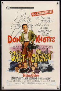6s042 GHOST & MR. CHICKEN linen 1sh '66 scared Don Knotts fighting spooks, kooks, and crooks!