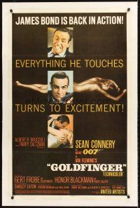 6s046 GOLDFINGER linen 1sh '64 three great images of Sean Connery as James Bond 007!